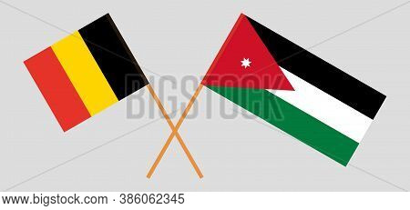 Crossed Flags Of Jordan And Belgium. Official Colors. Correct Proportion. Vector Illustration
