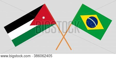 Crossed Flags Of Jordan And Brazil. Official Colors. Correct Proportion. Vector Illustration