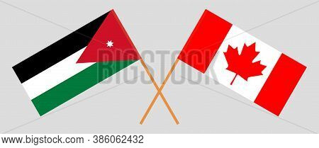 Crossed Flags Of Jordan And Canada. Official Colors. Correct Proportion. Vector Illustration