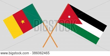 Crossed Flags Of Jordan And Cameroon. Official Colors. Correct Proportion. Vector Illustration