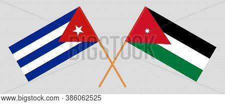 Crossed Flags Of Jordan And Cuba. Official Colors. Correct Proportion. Vector Illustration