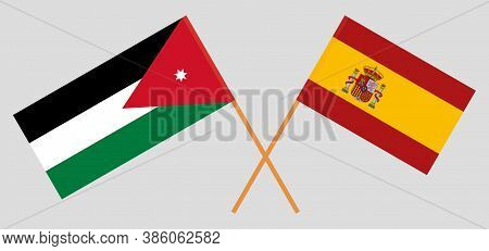 Crossed Flags Of Jordan And Spain. Official Colors. Correct Proportion. Vector Illustration