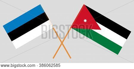 Crossed Flags Of Jordan And Estonia. Official Colors. Correct Proportion. Vector Illustration