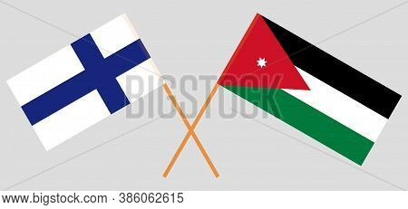 Crossed Flags Of Jordan And Finland. Official Colors. Correct Proportion. Vector Illustration