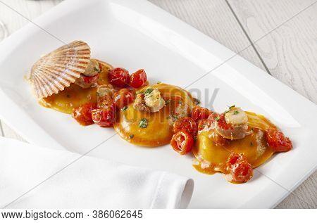 Italian Food: Seafood Ravioli Served At Restaurant