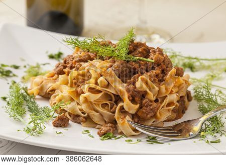 Italian Food: Tagliatelle Bolognese. Pasta With Ground Meat.