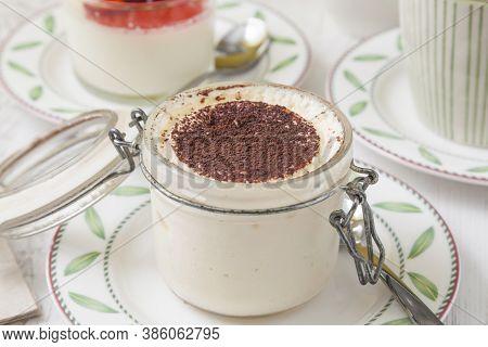 Tiramisu. Traditional Italian Dessert Served In A Preserve Jar.