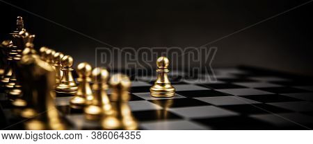 The Golden Chess Team Standing On Chess Board Concepts Of Leadership And Business Strategy Managemen