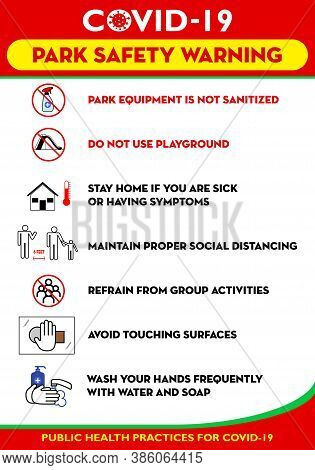 Public Park Rules Poster Or Public Health Practices For Covid-19 Or Health And Safety Protocols Or N