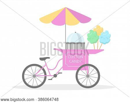 Cotton Candy Cart Bicycle, Street Food. Vector Illustration.