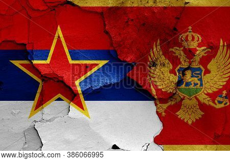 Historical Flag Of Socialist Republic Of Montenegro And Today Montenegro Flag On Cracked Wall