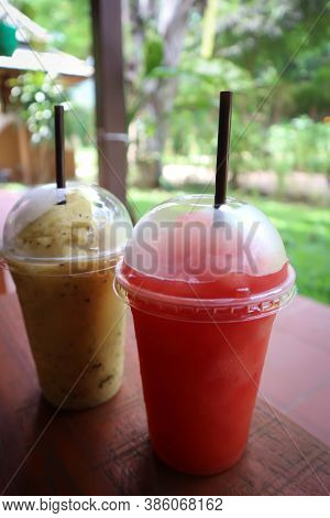 Juice Or Watermelon Smoothie And Passion Fruit Smoothie