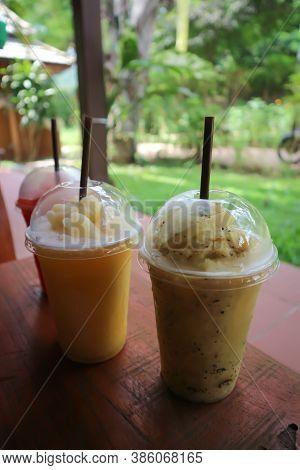 Juice, Mango Smoothie And Passion Fruit Smoothie