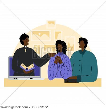 The Pastor Conducts Church Services Online. Concept Church And Liturgy Online. Young African America