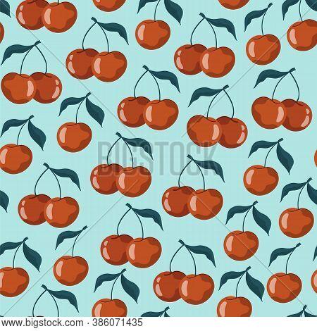 Seamless Pattern With Cherries And Sweet Cherries On A Pastel Blue Background. Vector Stock Illustra