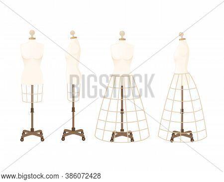 Set Of Mannequins For Wearing Dresses Old Fashion Style Dummy Adjustable Dress Form Flat Vector Illu