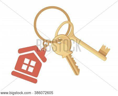 Golden Key On Ring With Keychain House Keys Flat Vector Illustration On White Background
