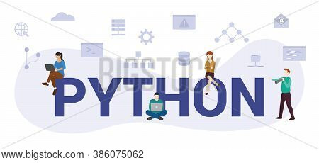 Python Programming Language Concept With Modern Big Text Or Word And People With Icon Related Modern