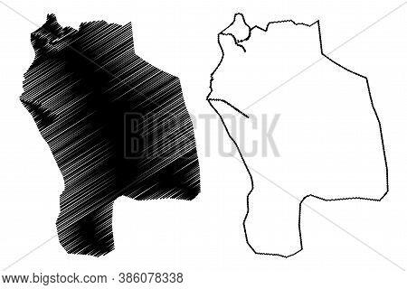 Barcelona City (bolivarian Republic Of Venezuela, Anzoategui State) Map Vector Illustration, Scribbl