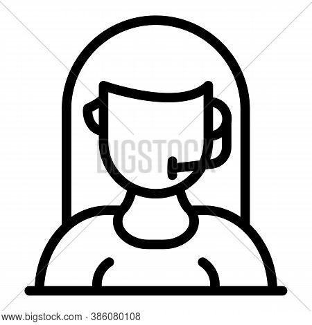 Microphone Headset Icon. Outline Microphone Headset Vector Icon For Web Design Isolated On White Bac