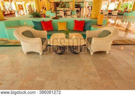 Iberostar Resort, Cancun, Yucatan Peninsula, Mexico, October 31, 2015: Fragment of Beautiful Hotel or Resort Lobby.
