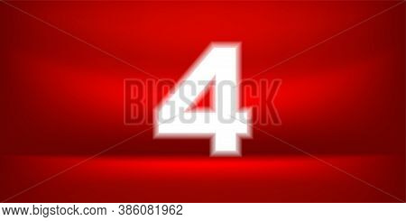 Number Four White Glow On Red Luxurious Background, No. 4 On Red Background, Number 4 For Banner Ann