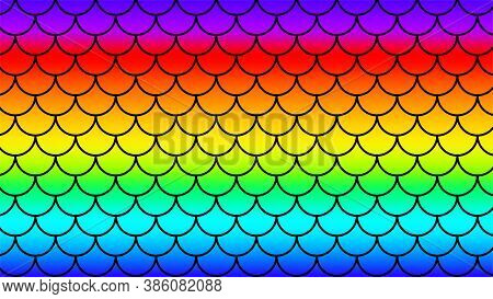 Mermaid Pattern Art Line On Rainbow Colorful Background, Fish Scale Pattern On Rainbow Background, M
