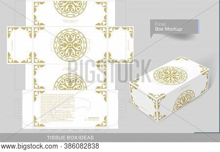 Floral Decorated Golden Element On Tissue Box, Template For Business Purpose. Place Your Text And Lo