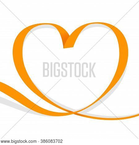 Ribbon Orange Heart Shape Isolated On White, Ribbon Line Orange Heart-shaped, Heart Shape Ribbon Str