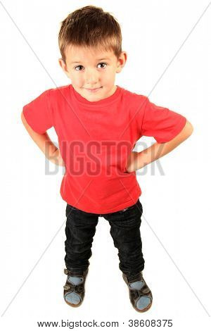 portrait of little boy isolated on white