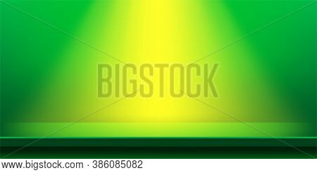 Plank Table Green And Light Shine For Background, Plank Wood Vivid Green Color On Wall Room, Copy Sp