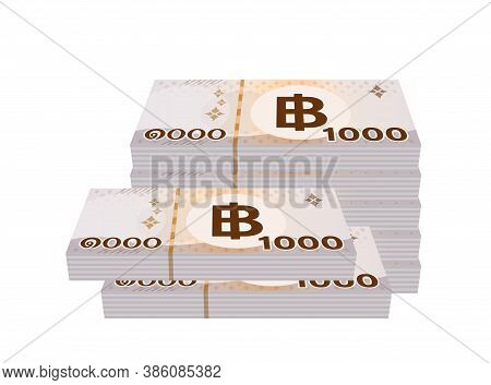 Pile Money 1000 Baht Banknote Thai, Currency Stack Of One Thousand Thb Type, Bank Note Money Thailan