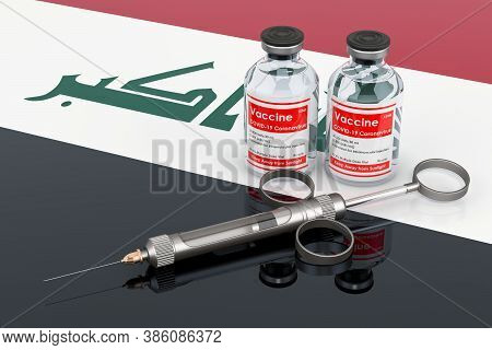 Vaccination In Iraq Concept. Vaccine Bottles With Syringe On The Iraqi Flag, 3d Rendering Isolated O