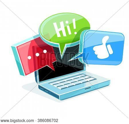 Icon for online web chat in social network at laptop with glossy glass clouds message bubbles with text and like icons. Isolated on white (transparent) background. 3D illustration.
