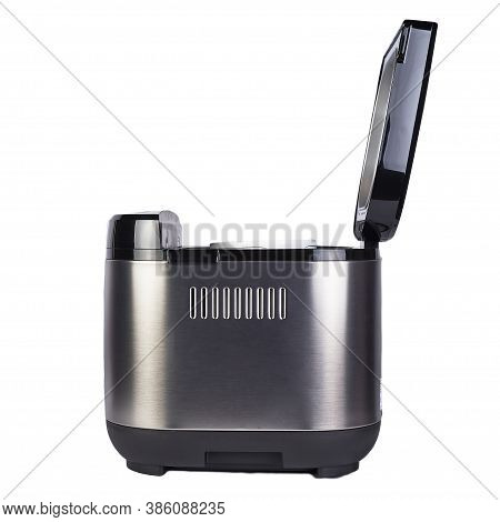 Bread Maker Isolated On White Background. Home Electronic Programmable Breadmaker With Open Lid.