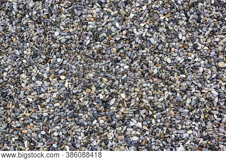 Shiny Wet Multicolored Pebbles On Beach. Natural Background Pebbles Beach, Dark Wet Pebble And Gray