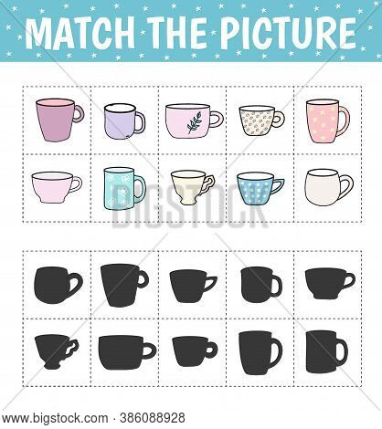 Connect The Cup And The Correct Shadow. Flash Cards. Children's Educational Game. Vector Illustratio