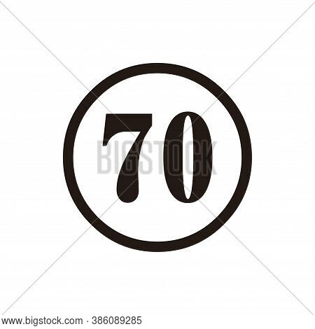 Number 70 Icon Vector. Number 70 Icon Isolated On White Background.