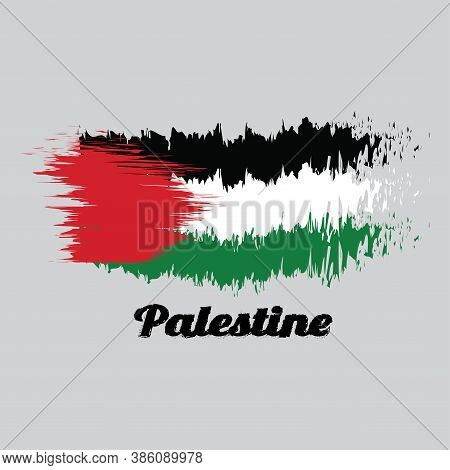 Brush Style Color Flag Of Palestine, A Horizontal Tricolor Of Black, White, And Green; With A Red Tr