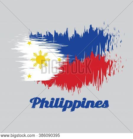 Brush Style Color Flag Of Philippines, A Horizontal Blue And Red; White Equilateral Triangle Based A
