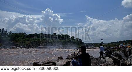 City Jabalpur, India - August 18, 2019: Indian People Enjoying At Narmada River In Bhedaghat Around