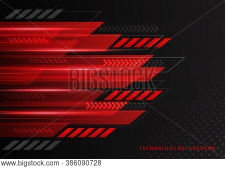 Abstract Technology Geometric Red And Black Color With Red Light On Black Background. You Can Use Fo