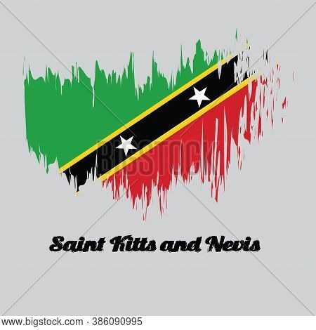 Brush Style Color Flag Of Saint Kitts And Nevis Flag, Yellow Edged Black Diagonal With Star, Triangl