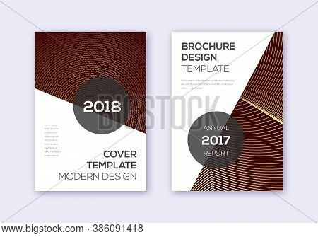 Modern Cover Design Template Set. Gold Abstract Lines On Bordo Background. Extra Cover Design. Grand