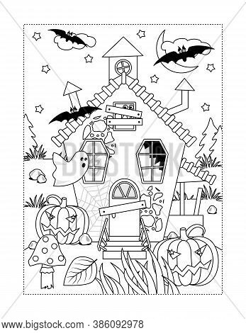 Coloring Page With Halloween Haunfed House, Ghosts, Pumpkins, Bats, Spiderweb, Toadstool