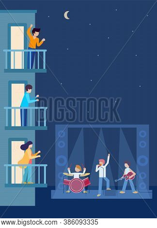 Vertical Concert Under Building Of Houses, Offices. People Neighbors Are Standing On Balconies Looki