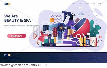 Beauty Industry Flat Landing Page Template. Barbershop Master, Hairstyling Salon Web Banner. Profess