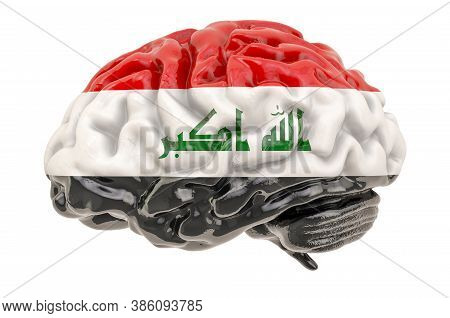 Human Brain With Iraqi Flag. Scientific Research And Education In Iraq Concept, 3d Rendering Isolate