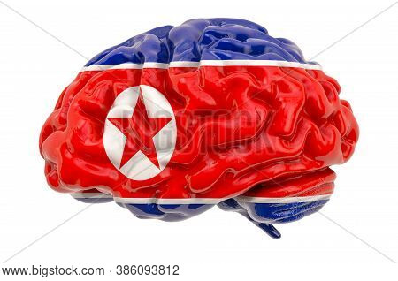 Human Brain With North Korean Flag. Scientific Research And Education In North Korea Concept, 3d Ren