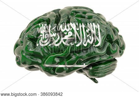 Human Brain With Saudi Arabian Flag. Scientific Research And Education In Saudi Arabia Concept, 3d R